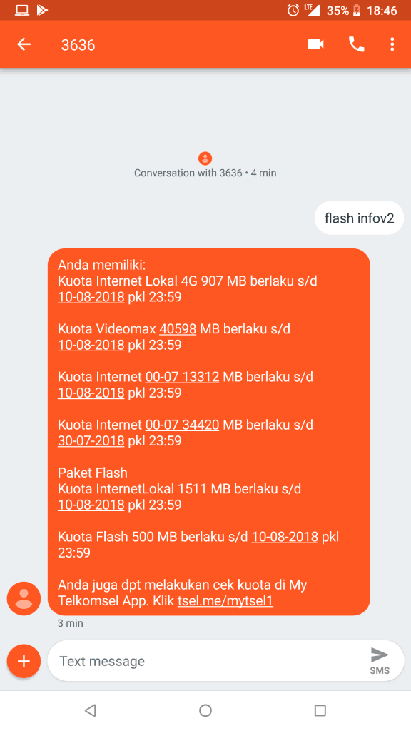 Hasil Cek Kuota Telkomsel Loop Flash Infov2 sms