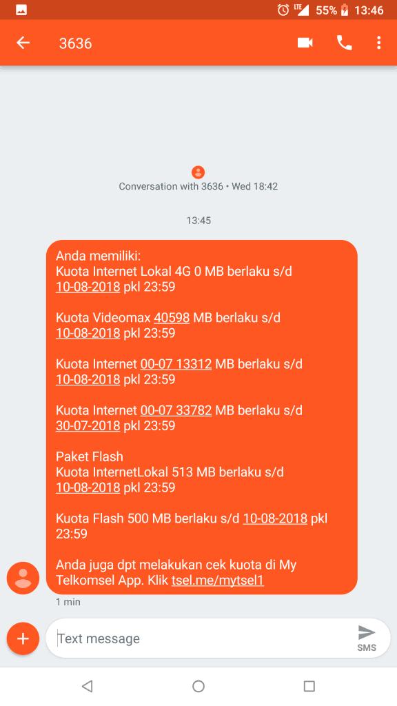 Hasil Cek Kuota Telkomsel via Dial 363