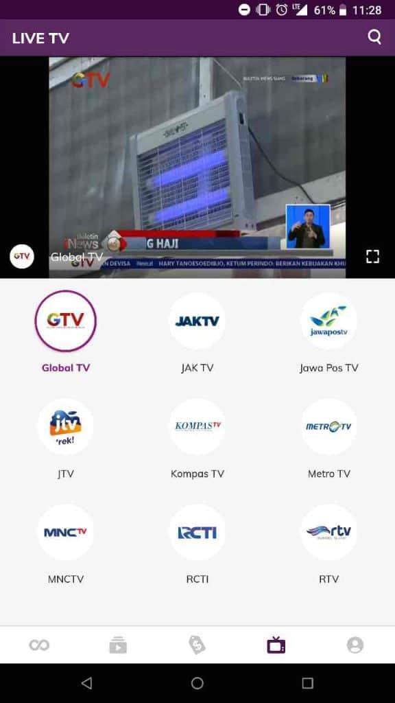 Nonton Channel TV di Hooq