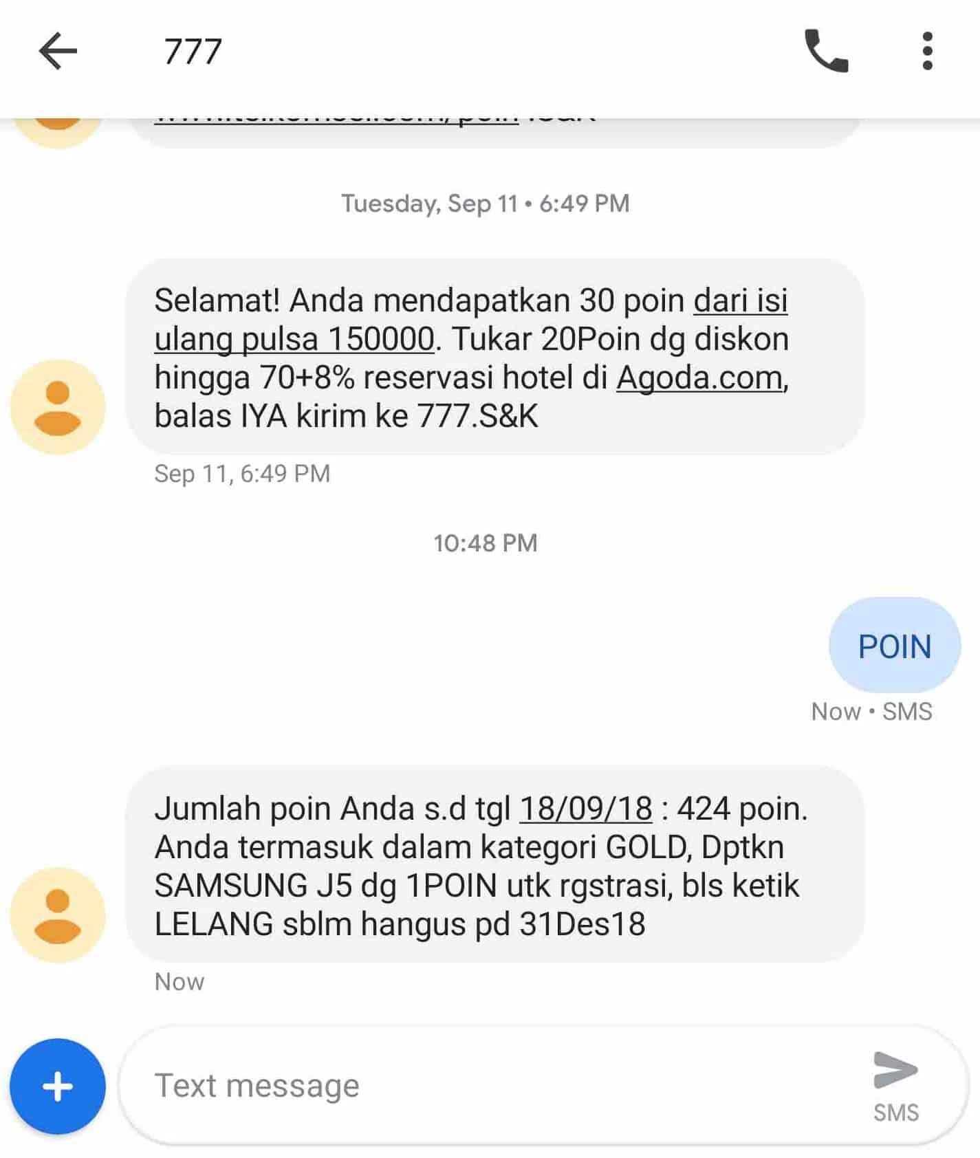 Cek POIN Telkomsel via SMS
