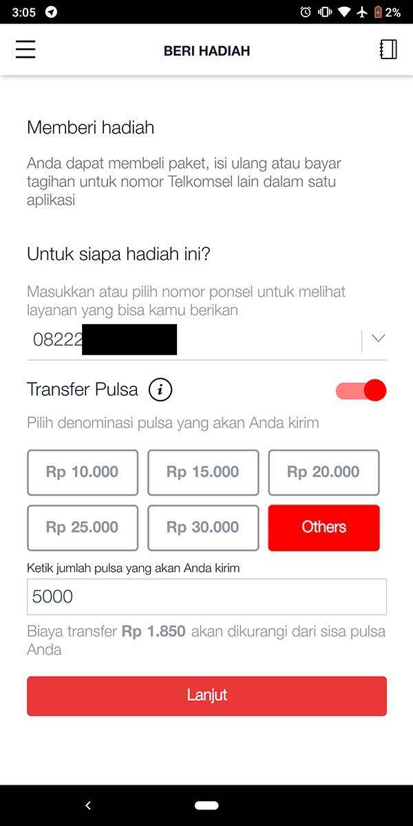 cara transfer pulsa telkomsel pakai aplikasi