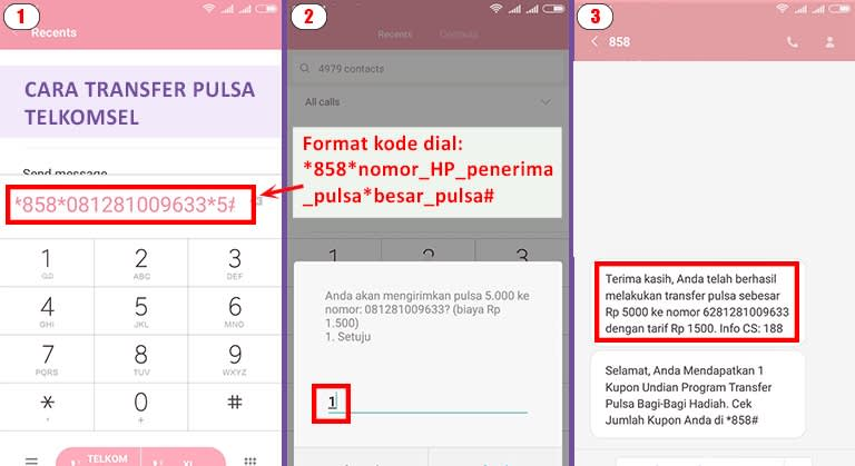 cara transfer pulsa telkomsel via sms