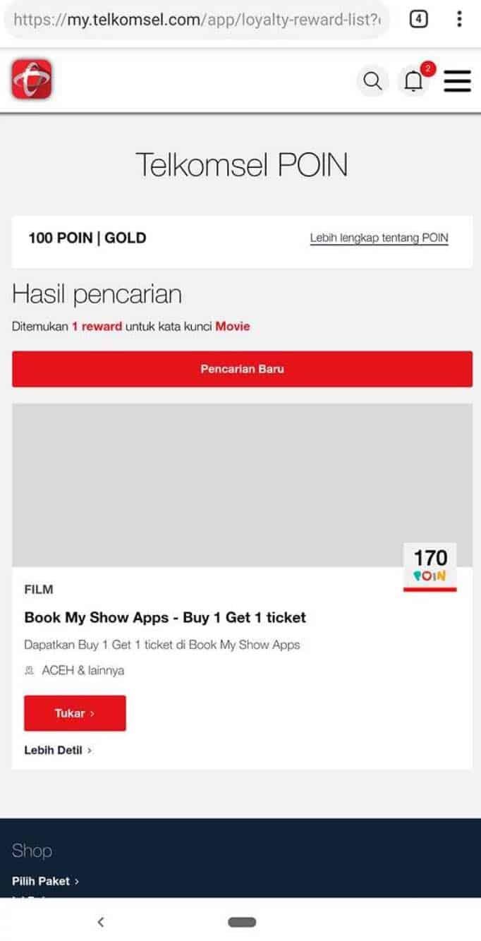 hasil tukar poin telkomsel dengan tiket film