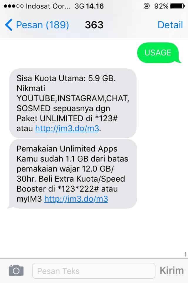 Cara Cek Kuota Indosat Via SMS Setelah Dapat Pesan