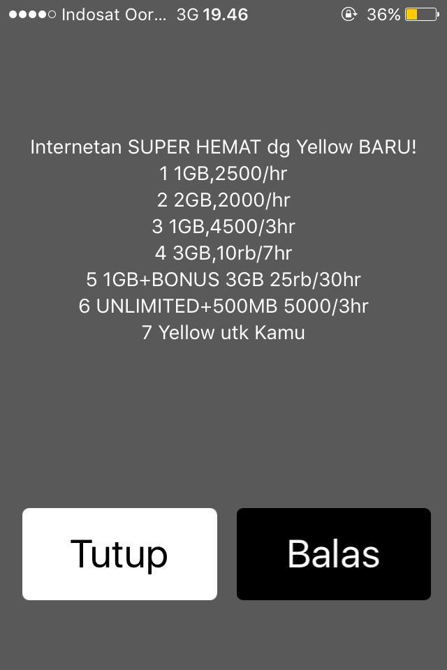 Daftar Berbagai Paket Yellow Via Dial