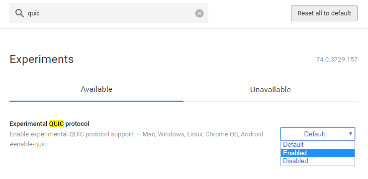 Aktifkan Quic Protocol pada Chrome