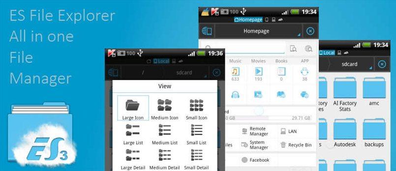 Aplikasi ES File Explorer File Manager Untuk Mengirim Aplikasi Android