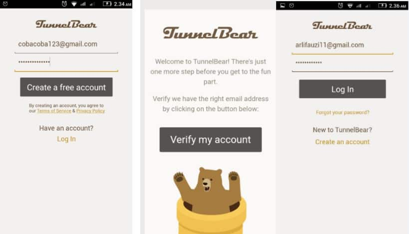 Buat akun Verifikasi dan Log-in Tunnel Bear