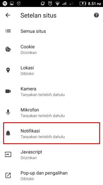 Buka Menu Notifikasi Pada Setelan situs di Chrome