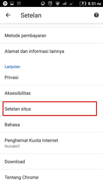 Buka Menu Setelan situs Pada Chrome Android