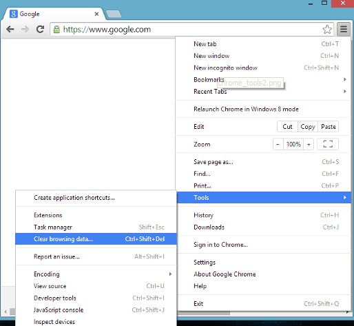 Clear browsing data pada chrome versi 19-54