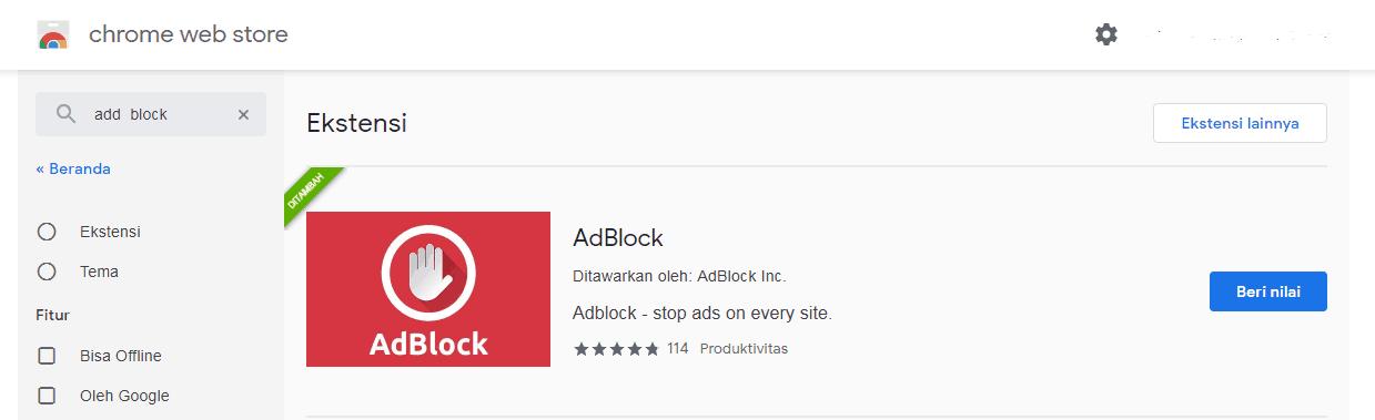 Download Adblock pada Chrome
