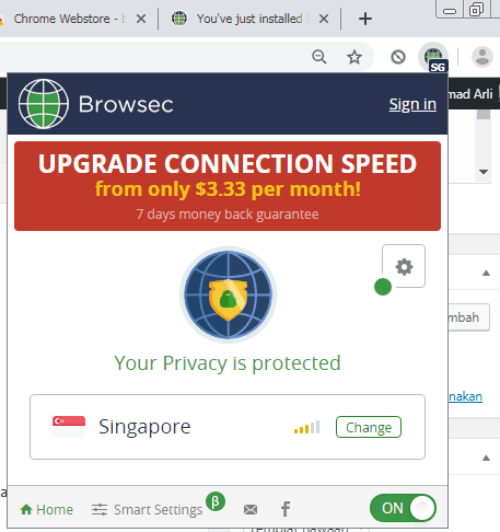 Ekstensi Sudah aktif pada browser Chrome