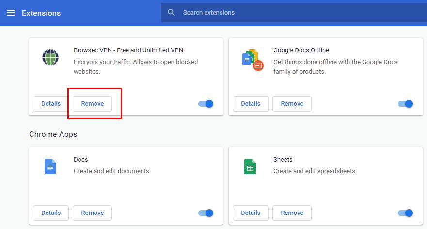 Hapus Ekstensi Pada Chrome
