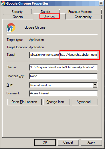 Hapus URL shorcut pada chrome