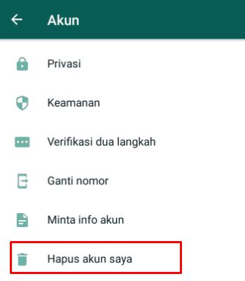 Hapus akun pada whatsapp