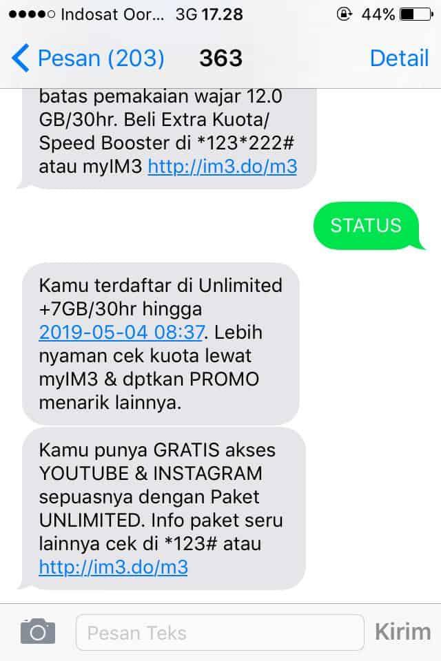 Hasil Cek Masa Aktif Indosat Via SMS