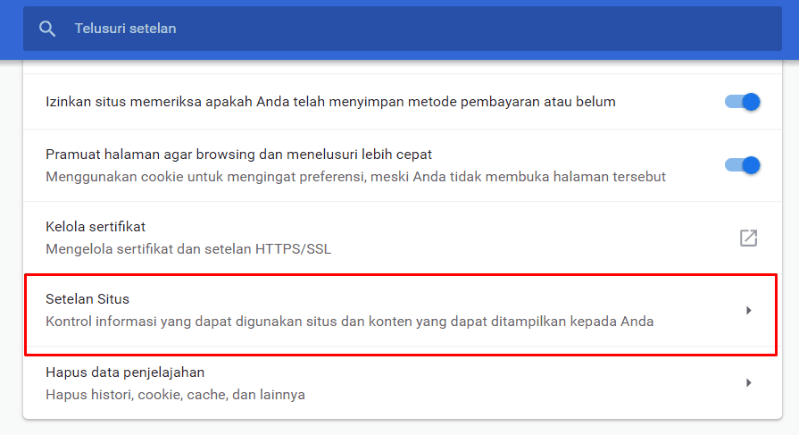 Klik Menu Site Settings Pada Google Chrome