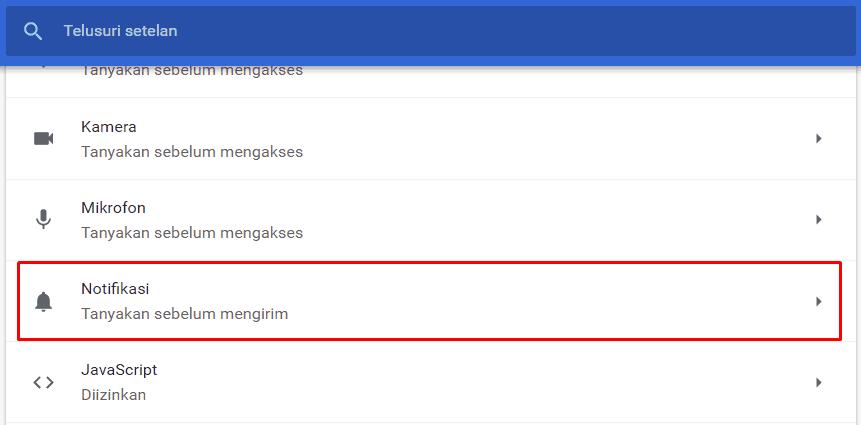 Klik Notifikasi Pada Setelan situs ChromeKlik Notifikasi Pada Setelan situs Chrome