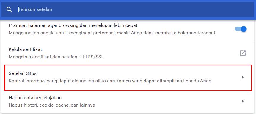 Klik Setelan Situs Pada Chrome