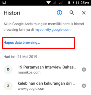 Klik hapus data browsing