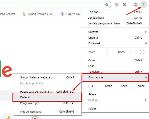 Masuk ke menu ekstensi pada google chrome