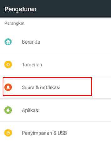 Masuk ke menu notifikasi pada pengaturan