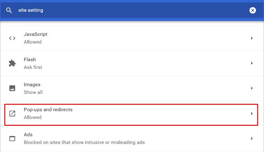 Masuk ke pop up pada setelan situs Chrome