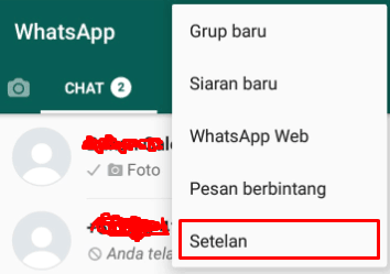 Masuk menu setelan pada whatsapp
