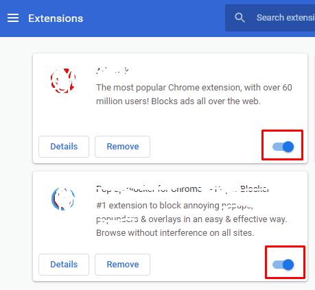 Nonaktifkan ekstensi pada Chrome