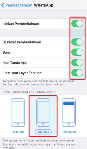 Nyalakan semua notifikasi Whatsapp pada IOS