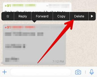 Pilih Pesan whatsap pada Iphone yang akan dihapus