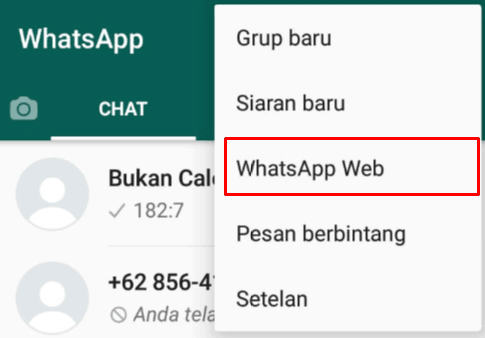 Pilih Whatsapp web pada aplikasi Whatsapp di smartphone