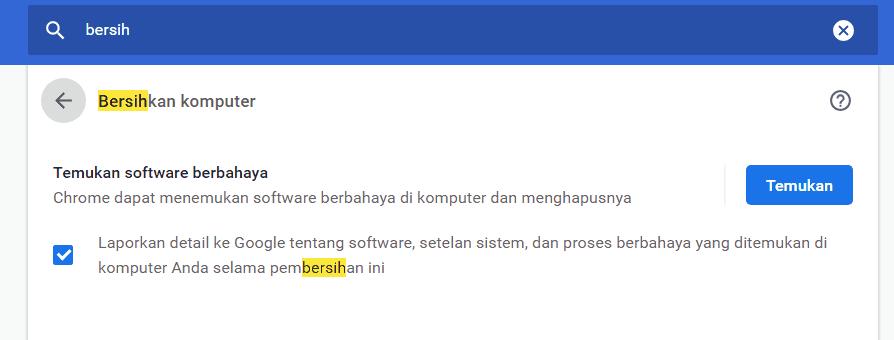 Scan Software Berbahaya pada Chrome