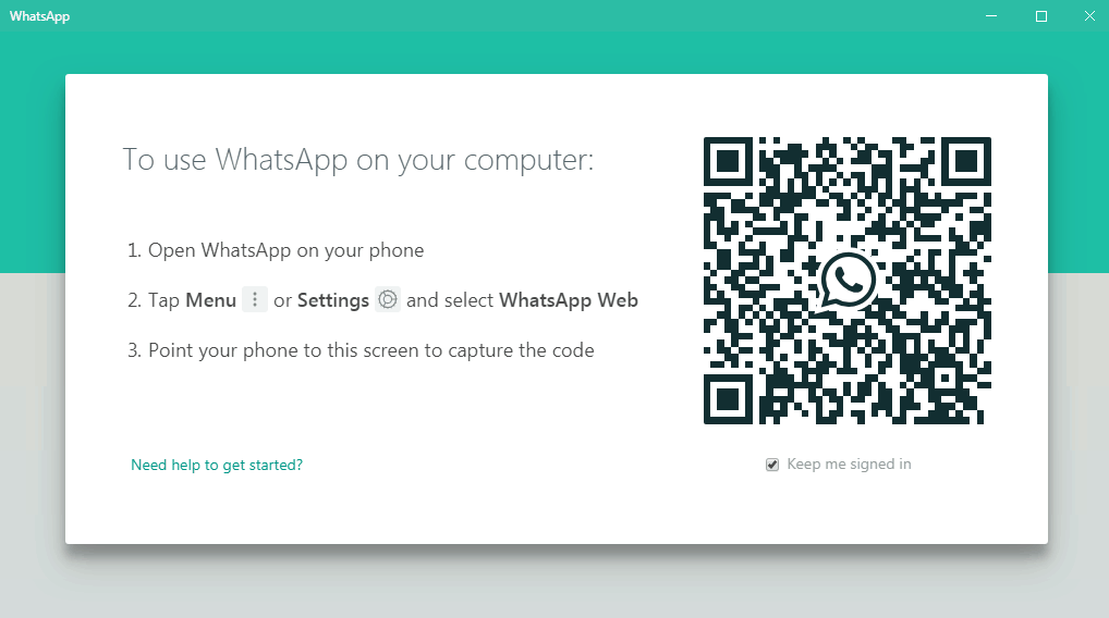 Scan barcode pada aplikasi Whatsapp windows 7