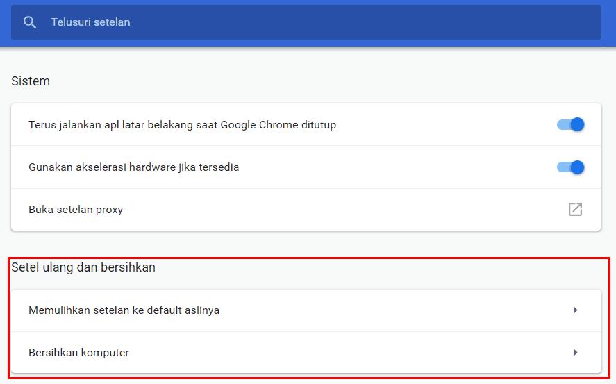 Setel Ulang pada Chrome