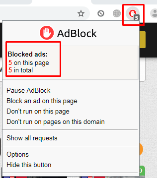 Tampilan Adblock Pada Chrome
