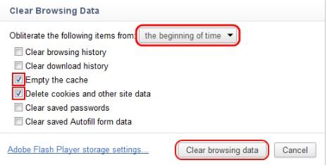 Tampilan Clear browsing data pada chrome versi 18 kebawah