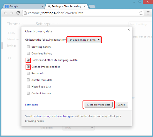 Tampilan Clear browsing data pada chrome versi 19-54