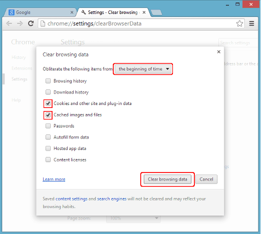 Tampilan Clear browsing data pada chrome version 55-58