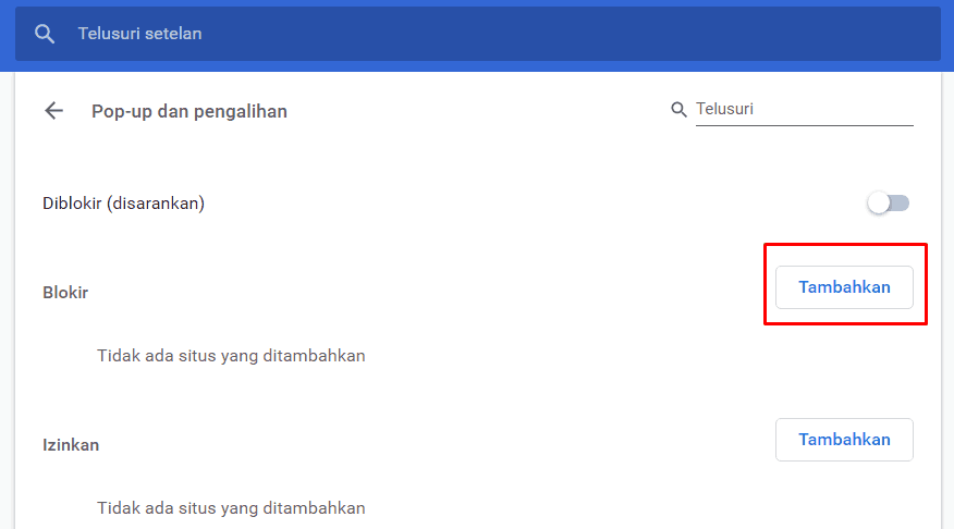 Tampilan Menu Pop up pada Google Chrome