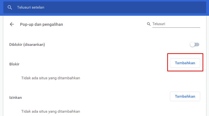 Tampilan Menu Pop up pada Google Chrome