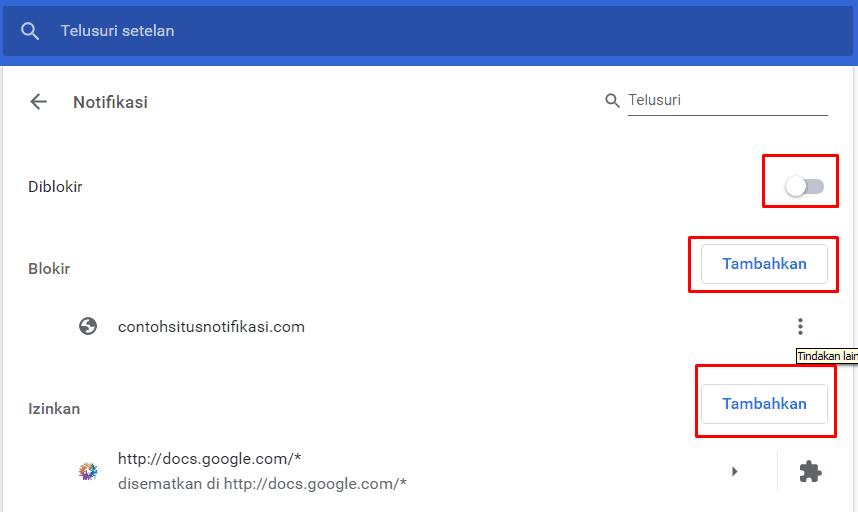 Tampilan Notifikasi Pada Google Chrome