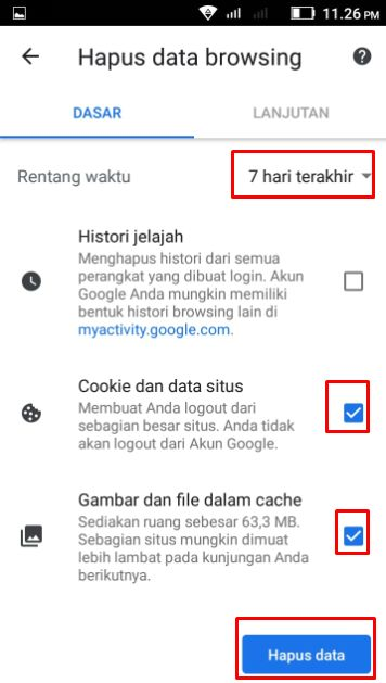Tampilan hapus data browsing pada chrome android