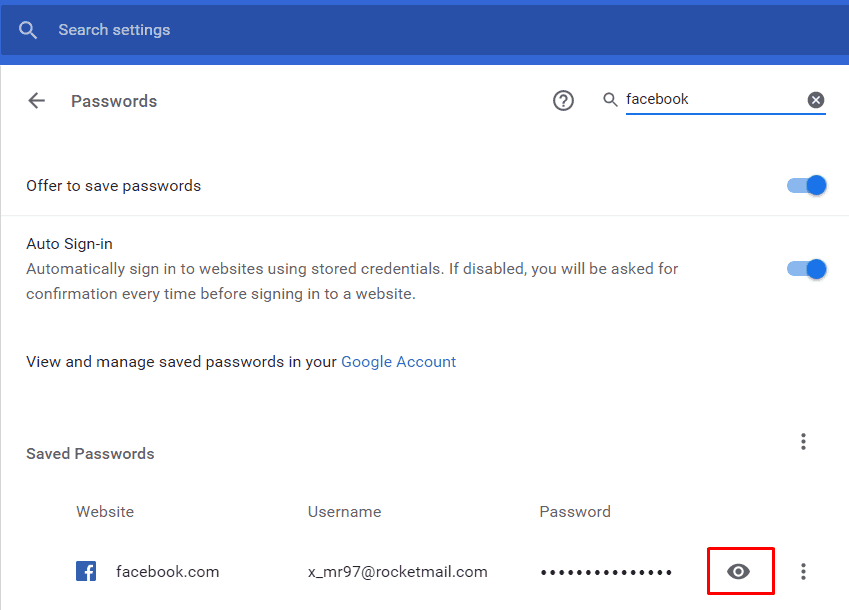 Tampilan tab password pada Chrome