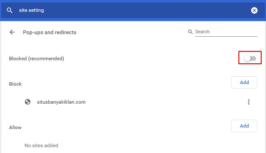 matikan Popup pada Chrome