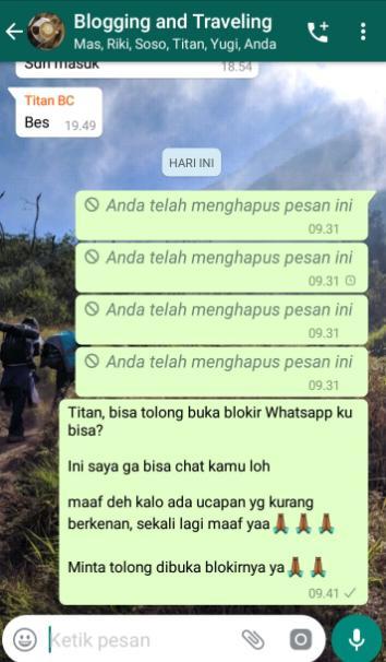 Chat di grup untuk membuka whatsapp diblokir teman