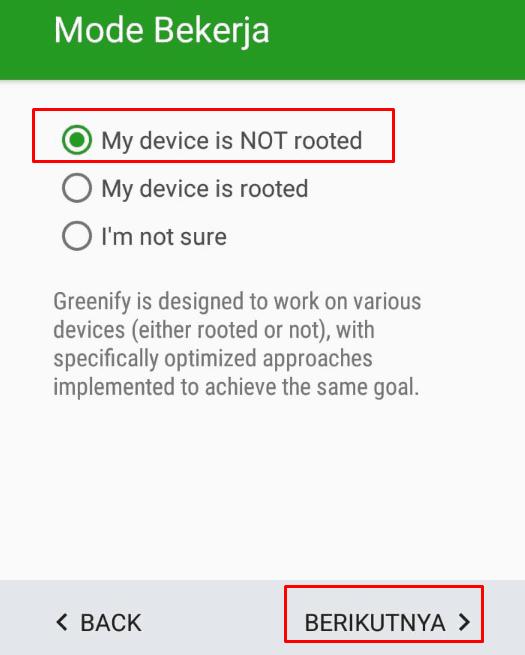 Device no root pada greenify