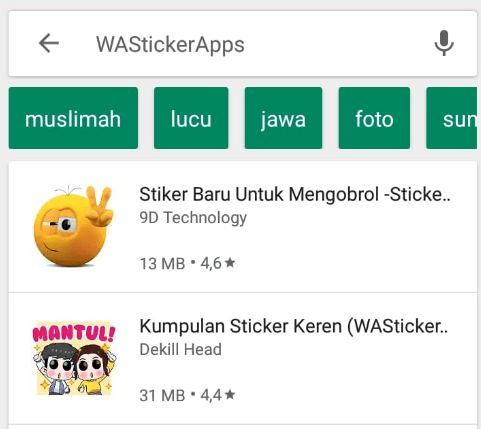 Download stiker Whatsapp via playstore