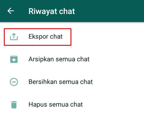 Export chat pada menu setelan whatsapp